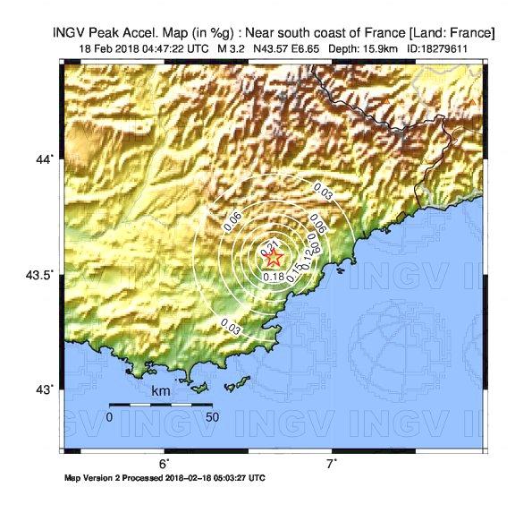 Map South Of France Coast.Earthquake Near South Coast Of France Land France Magnitude Ml